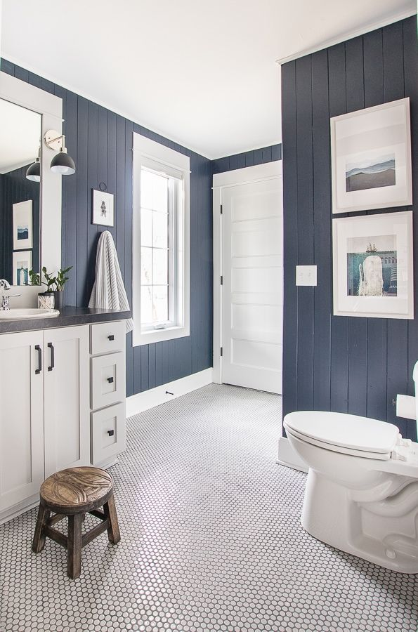 Photo of Lake House Nautical Boy Bathroom –  navy planked walls, gray penny tile, nautica…