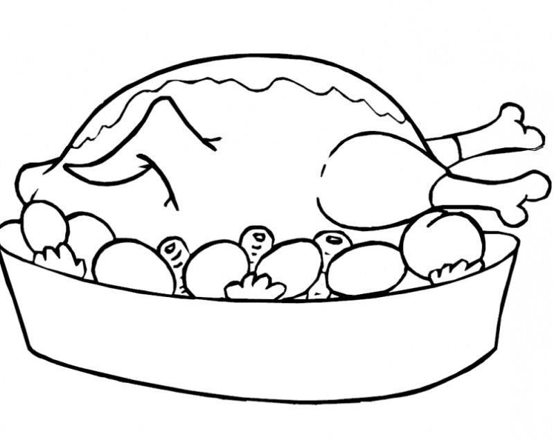 Chicken And Vegetable Food Coloring Page Printable Coloring Book