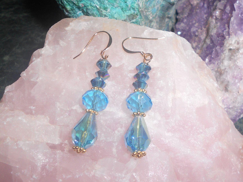 Blue Crystal Beaded Earrings by TrendyCharm on Etsy