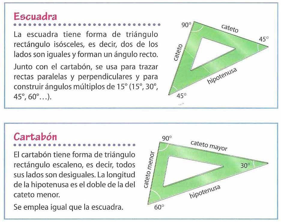 No Nos Olvidemos De Nuestras Herramientas De Dibujo La Escuadra Y Cartabón También Son Triá Paralelas Y Perpendiculares Juegos Geometria Formas De Triangulos