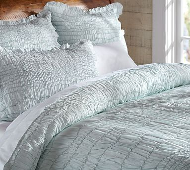 Ruched Voile Duvet Cover Sham Icy Blue Potterybarn Duvet Covers Cool Beds Beautiful Bedding