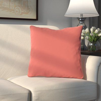 Charlton Home Bergfield Solid Throw Pillow Color: Dark Coral ...