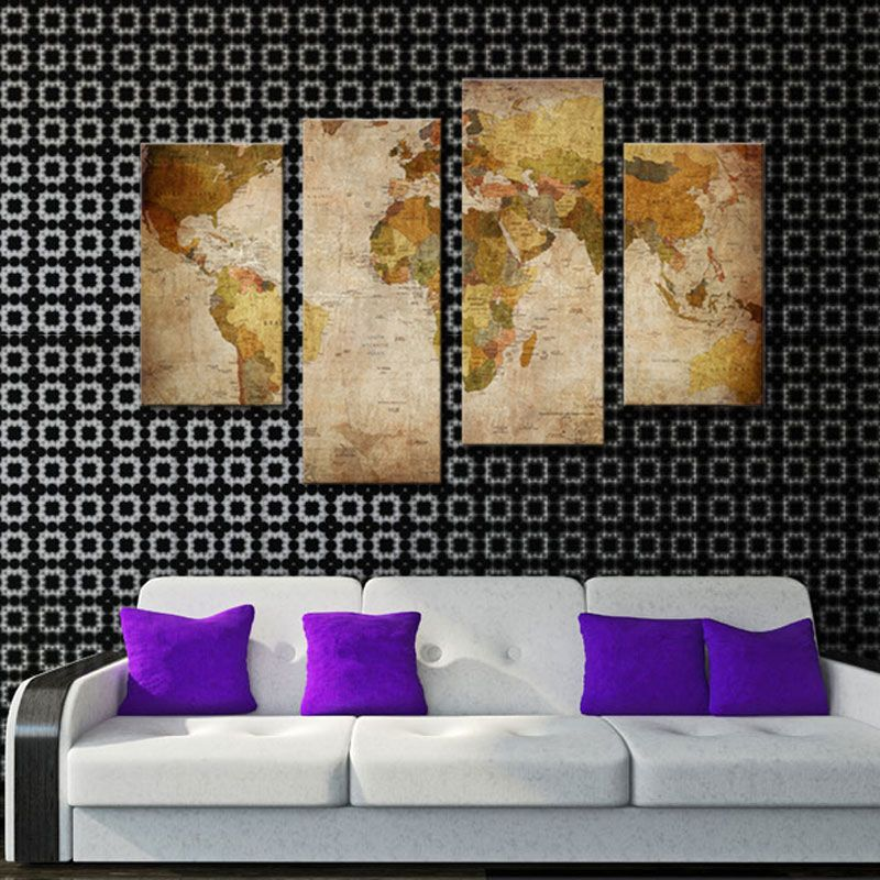 Pieces World Map Painting Abstract Map Picture Print On Canvas - 4 piece world map