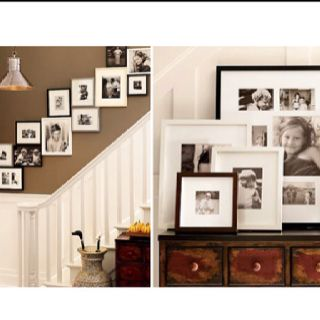 Picture frame decor for stairs going upstairs