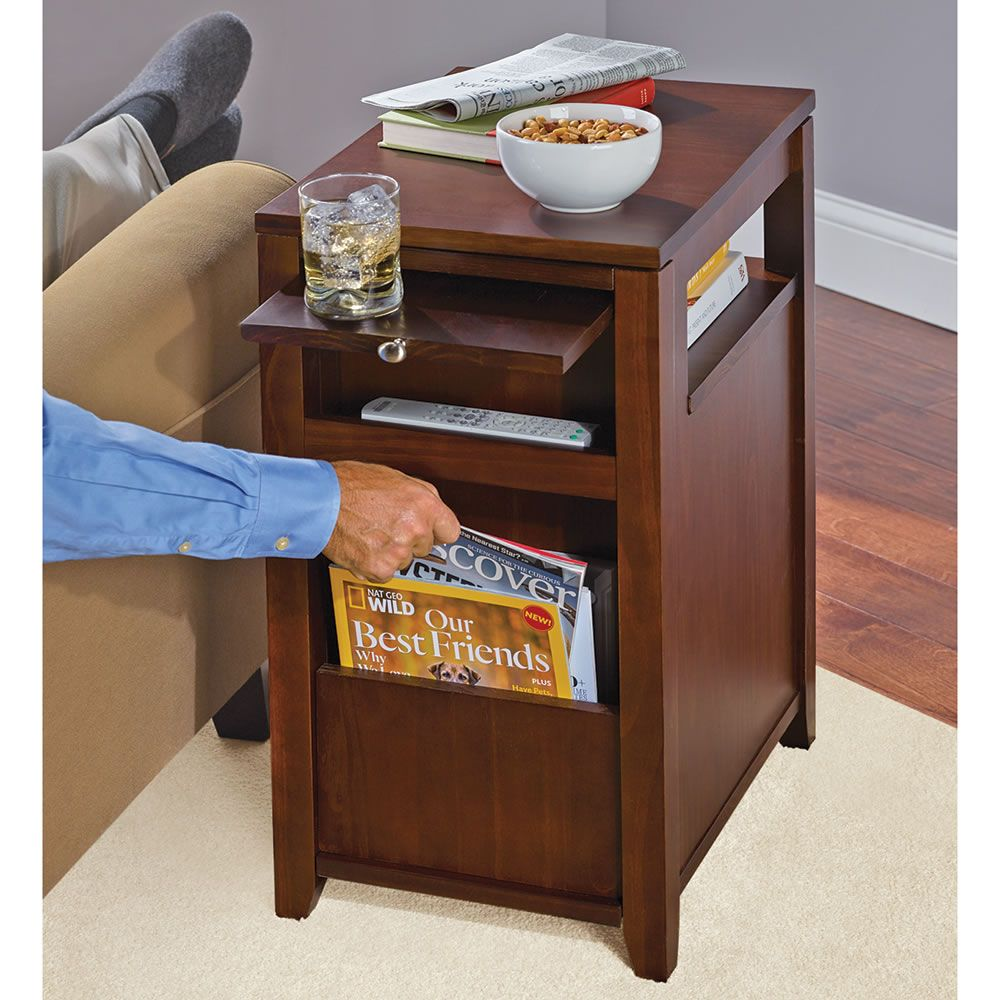 The Easy Access Recliner Side Table Hammacher Schlemmer Side Table Wood Side Table Diy Office Table And Chairs Chair side tables with storage