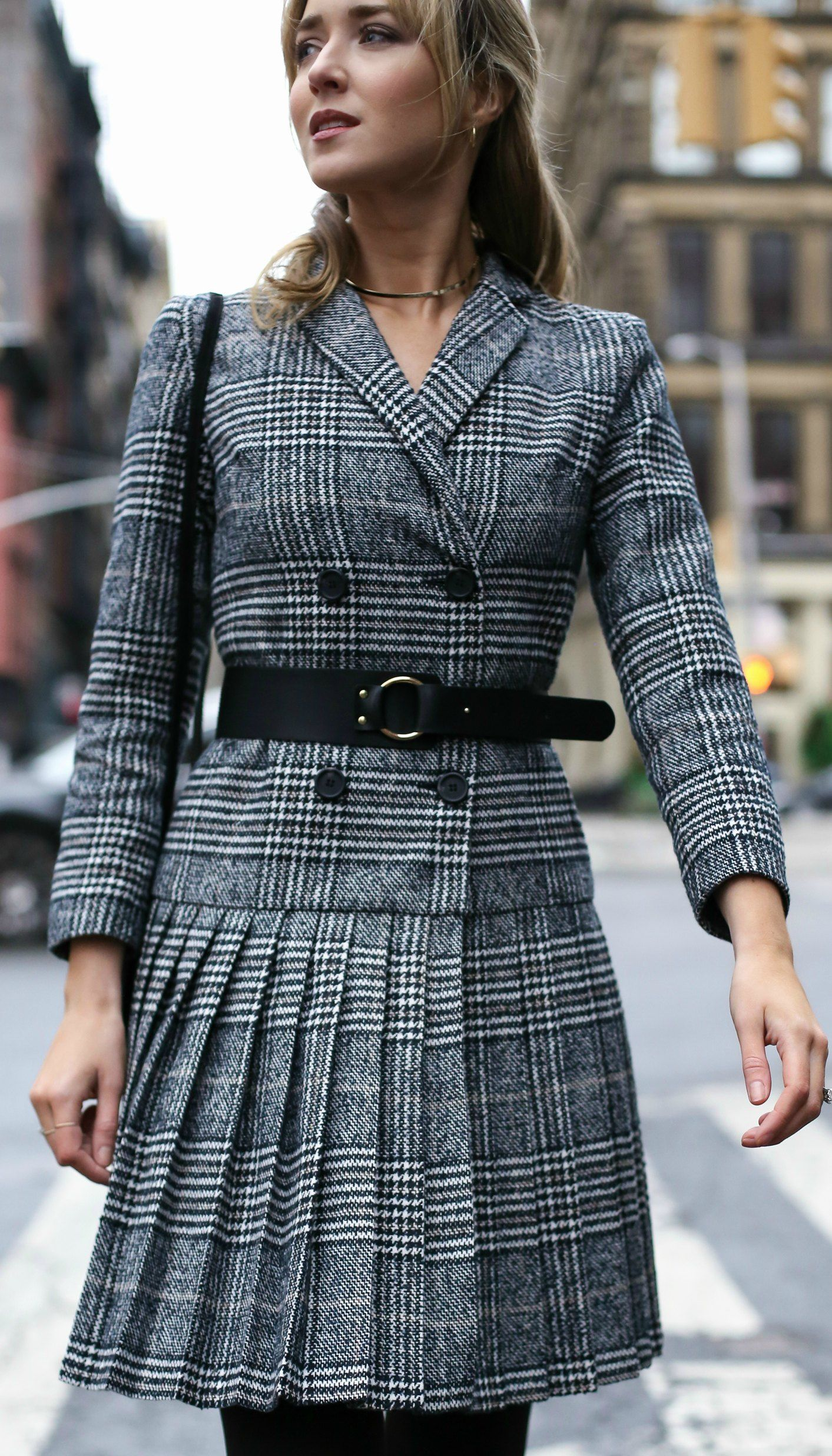 Classic Glen Plaid Pleated Double Breasted Suit Dress Opaque Black