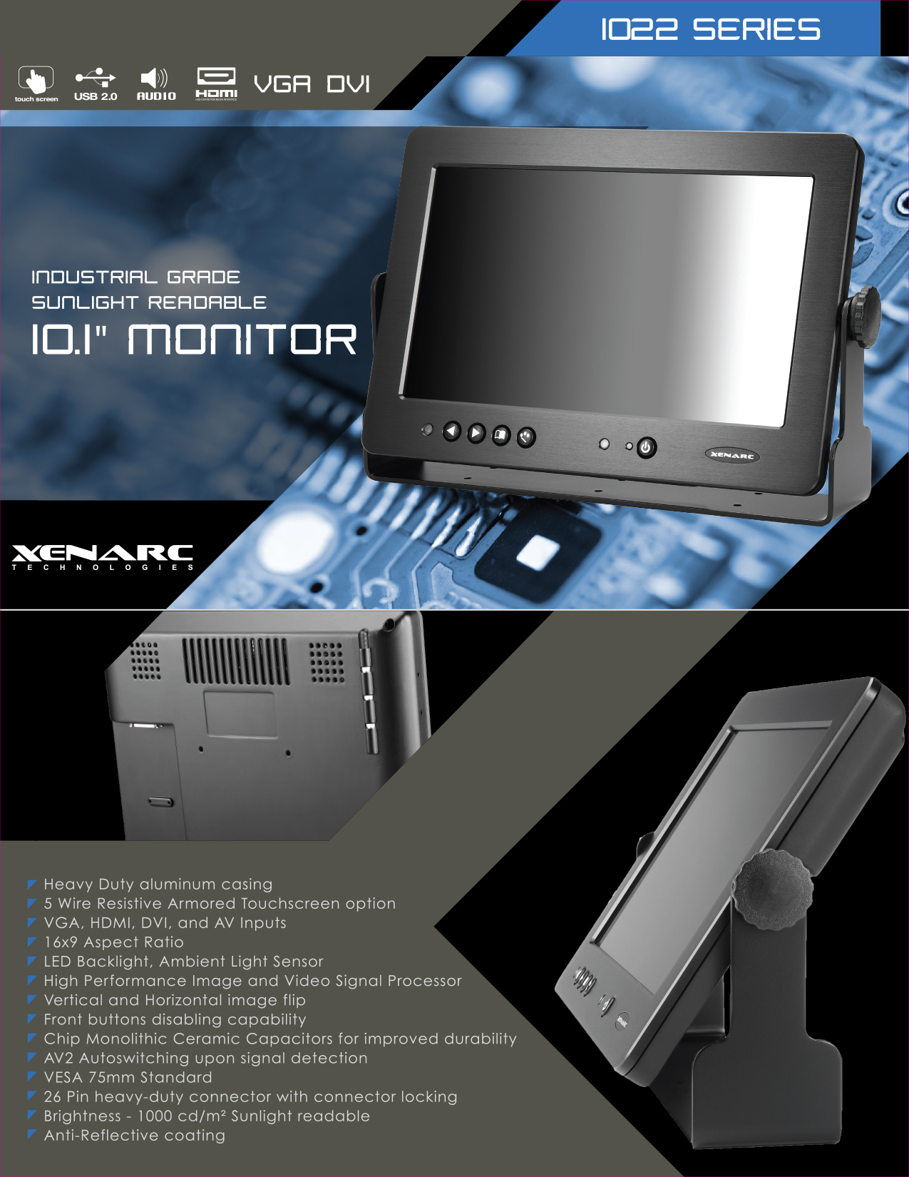 10 1 Industrial Grade Sunlight Readable Display Monitor With Dvi Vga Hdmi Lcd Monitor Touch Screen Touch Screen Interface