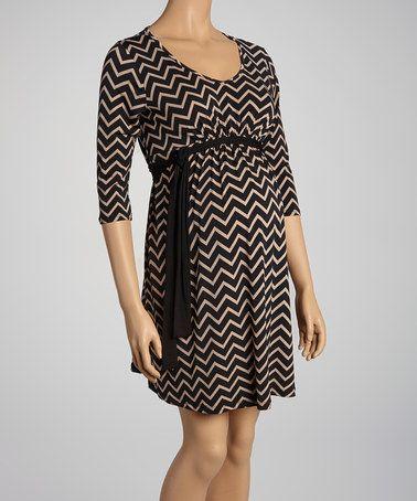 Khaki and Black Chevron Dress