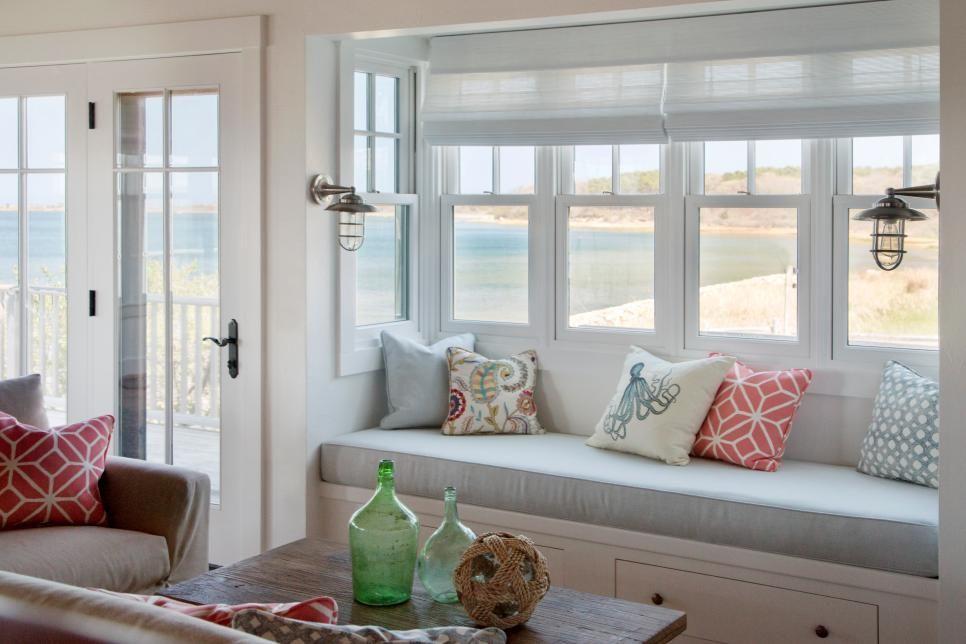 Ocean Inspired Living Room With Cozy Window Seat Window Seat Design Cozy Window Seat Marthas Vineyard Interior Design