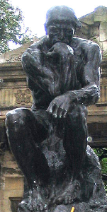 The Thinker. Auguste Rodin. The towering figure of Early Modern sculpture is Auguste Rodin, who produced mainly bronzes. Although some are smoothly finished, Rodin's most characteristic works feature rough, unfinished forms and textures, which gives them a dramatic, raw appearance.5 This constitutes the sculptural equivalent of the sketchy, unfinished appearance of impressionist paintings; in both cases, the imagination fills in the details.