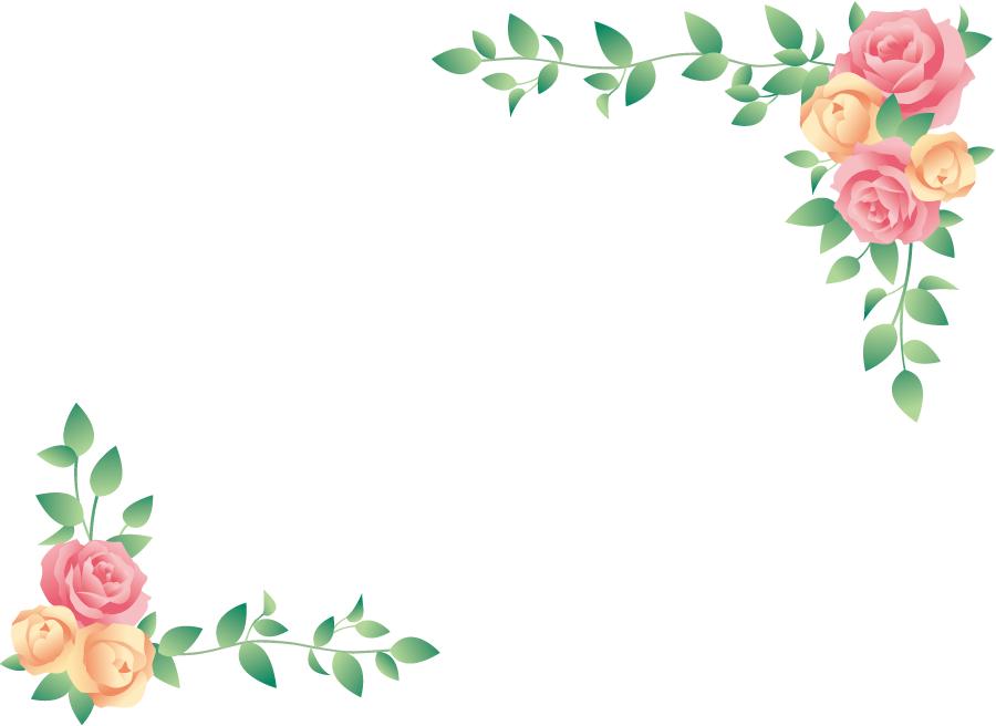 フリーイラスト バラの花の飾り枠 Borders 飾り枠 花の飾り イラスト