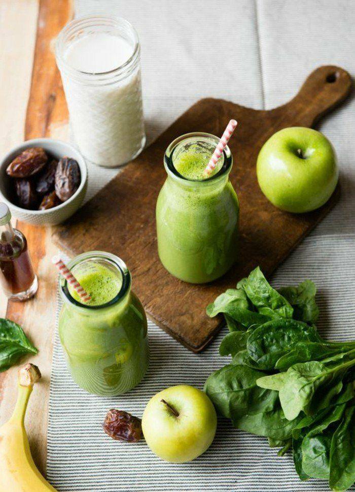Smoothie Diät mit Apfel Spinat Banane Milch Smoothie mit Trockenobst