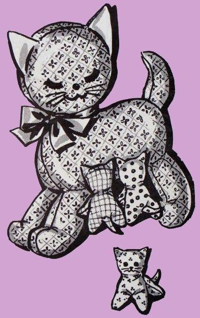 Kitty Family Vintage Toy Animal Sewing Pattern 2465-T | Animal ...