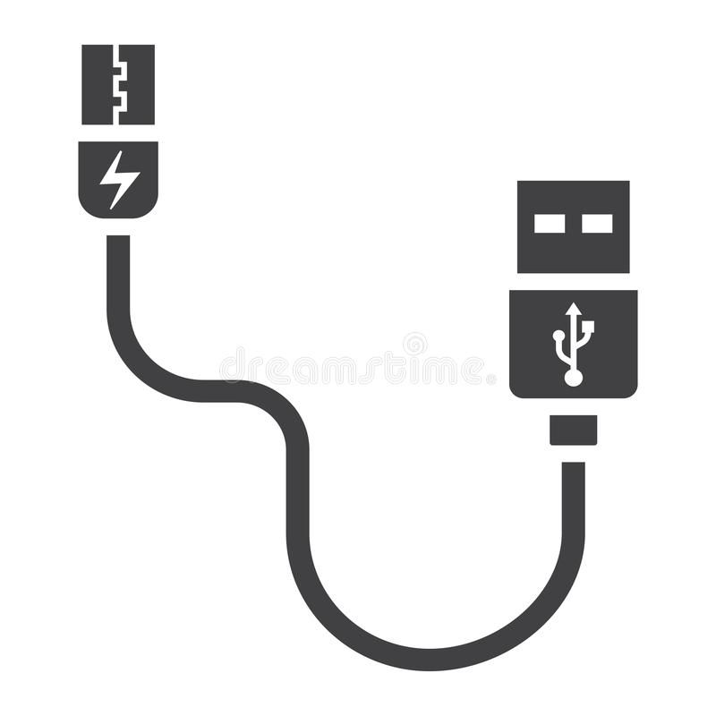Usb Cable Solid Icon Connector And Charger Vector Graphics A Glyph Pattern On Ad Connector Charger Vector Icon Usb Ad Usb Cable Icon Usb