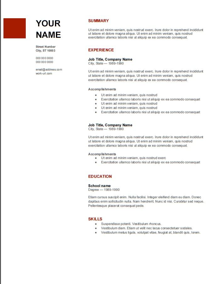 Great Resume Template From #google #MBA Admissions Advice