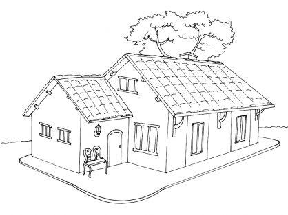 Coloriage maison 5 blanche neige pinterest maison for Jardin a dessiner