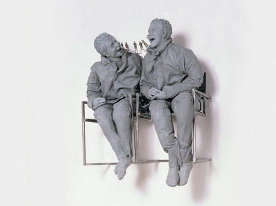 'two seated on the wall', 2000  private collection © the estate of Juan Muñoz