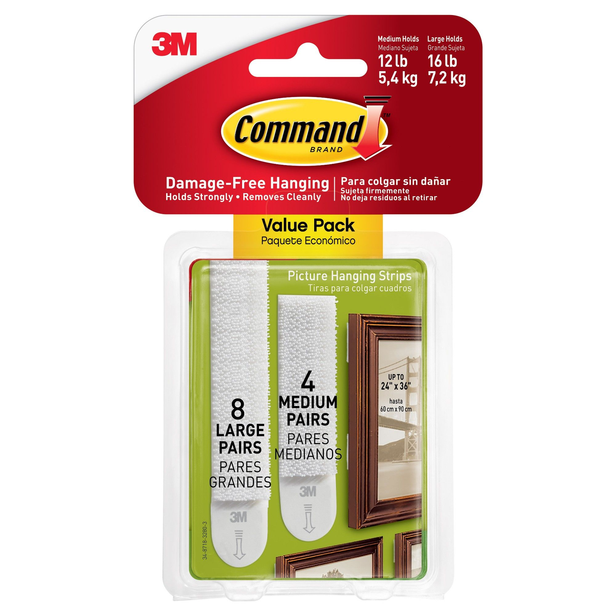 Command Medium And Large Picture Hanging Strips 4 Medium 8 Large White Large Picture Frames Hanging Pictures Picture Frame Hangers