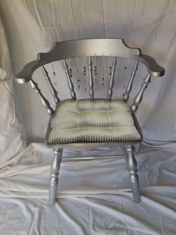 Vintage Hand Beaded Silver Vanity Chair By CrownStoneStudio, $145.00