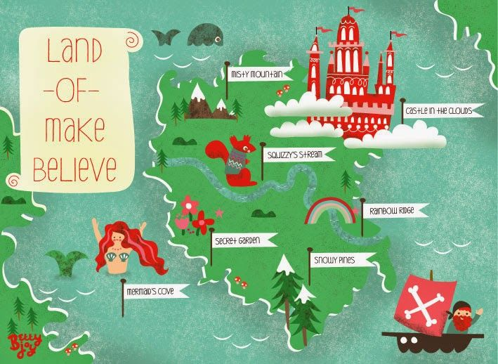 Land Of Make Believe Map By Bettyjoy Nursery Illustration Nursery Prints