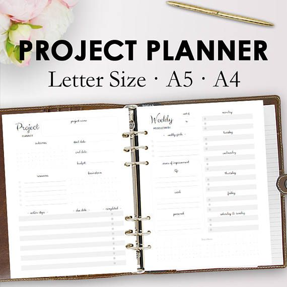 Project Planner Printable Productivity Planner Printables