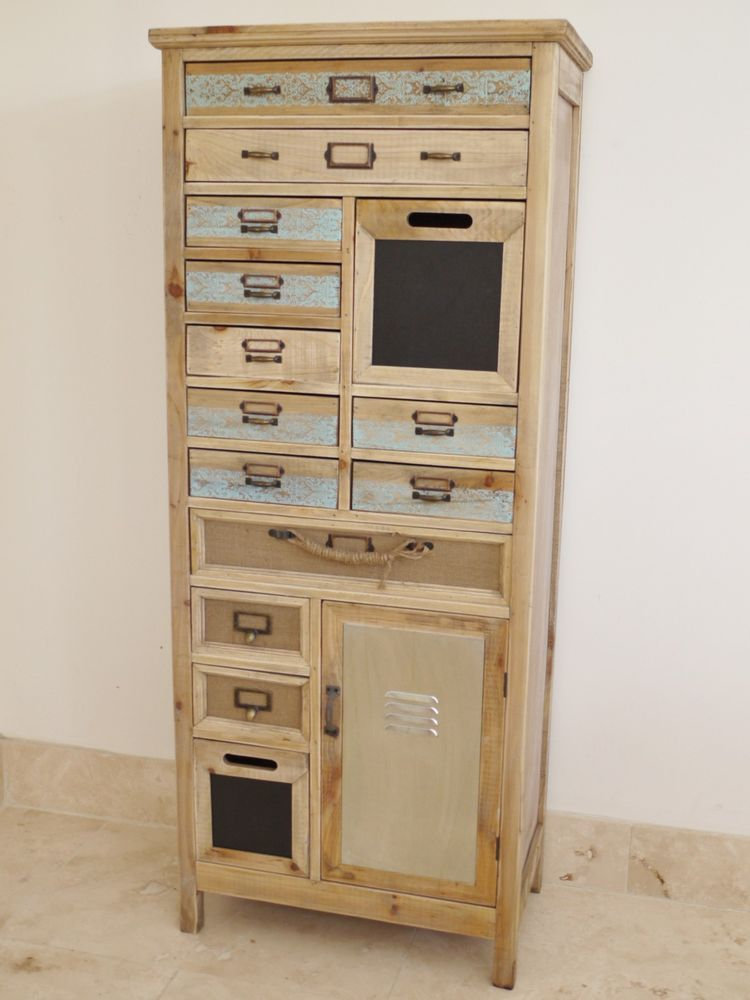 Best Vintage Industrial Multi Drawer Chest Storage Tallboy Unit 640 x 480