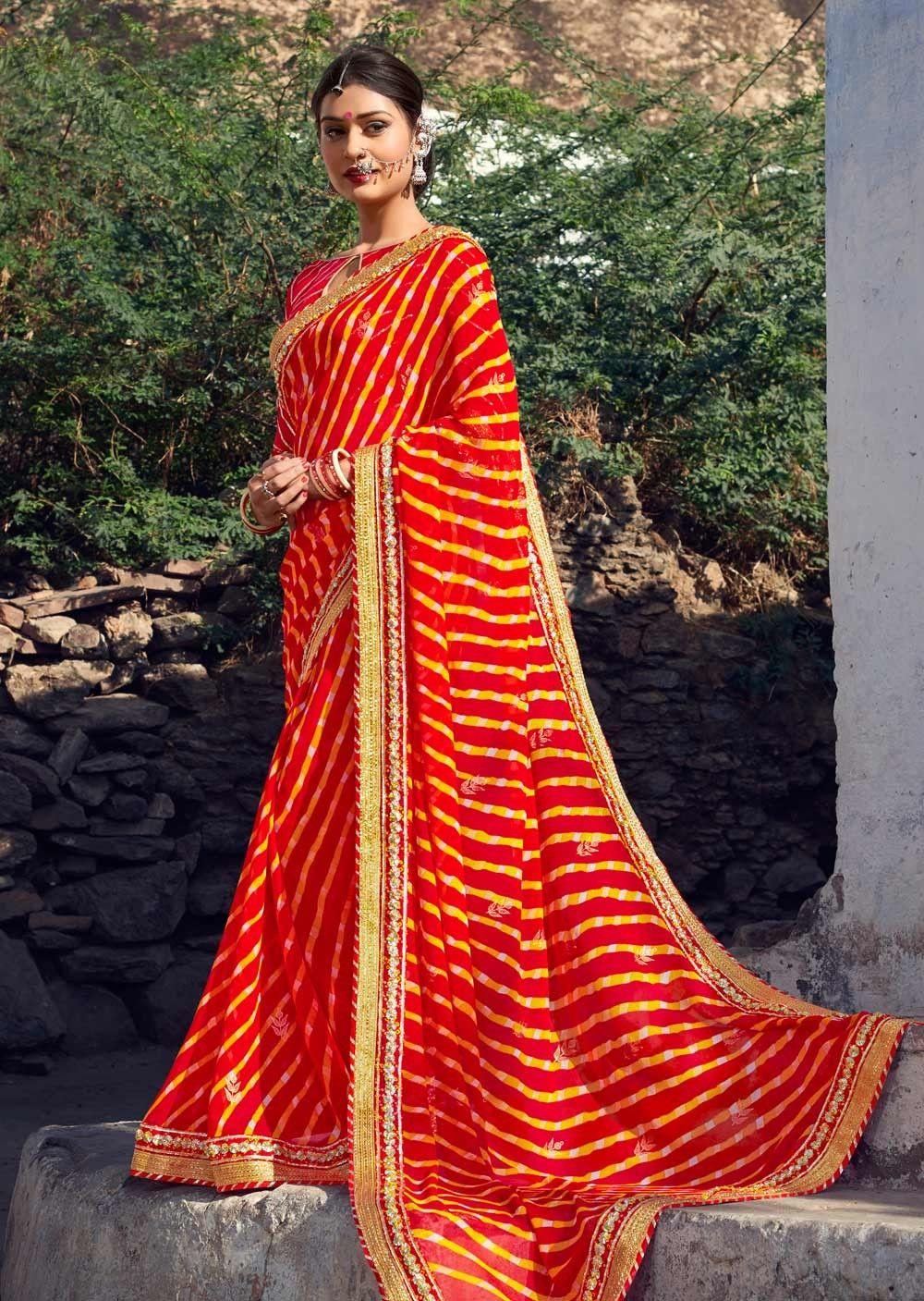 82b3340818 leheriya sarees online | Bandhani Saris | Saree, Bandhani saree ...