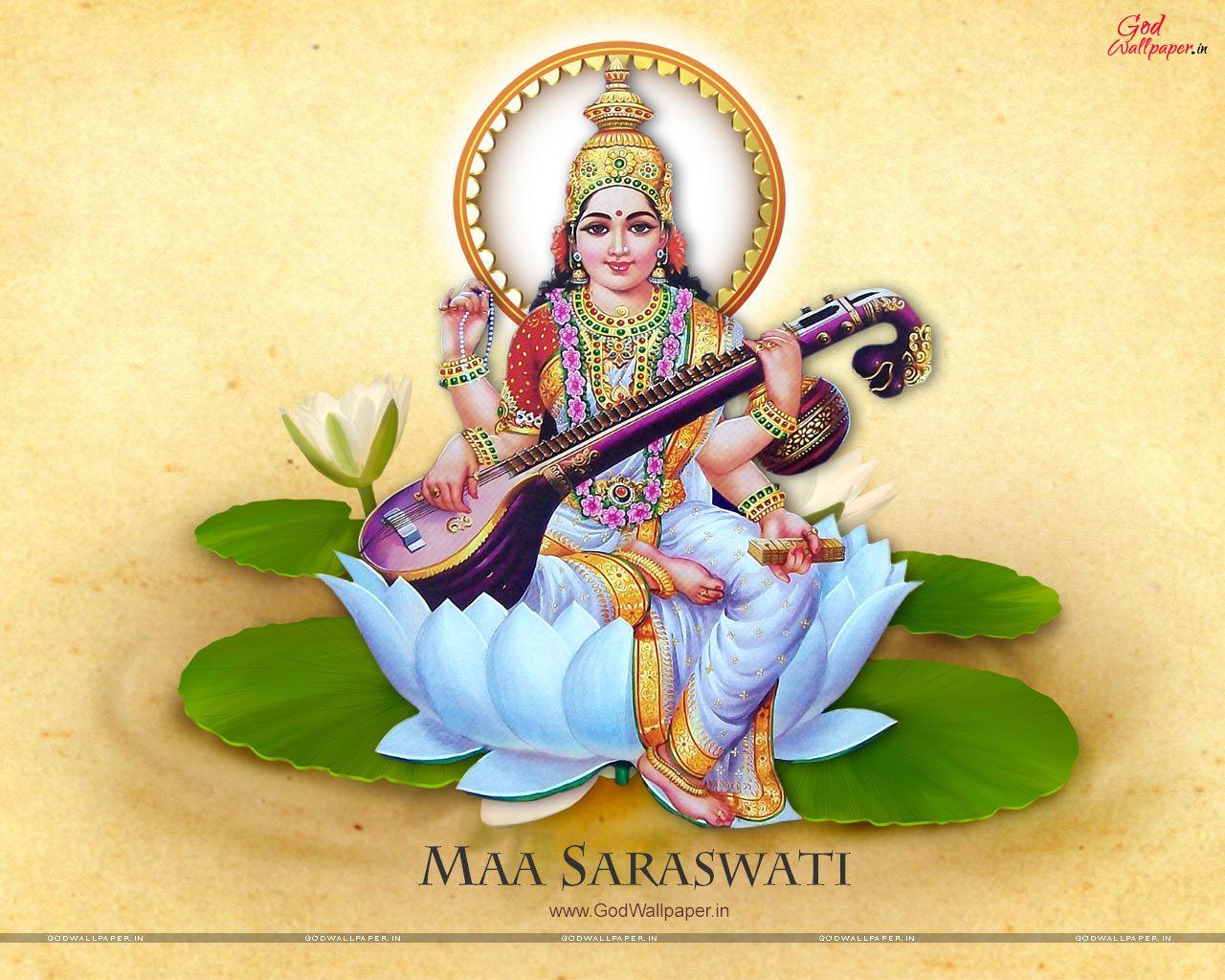 Maa Saraswati Full Size Hd Wallpaper Download Saraswati Mata Saraswati Goddess Maa Wallpaper