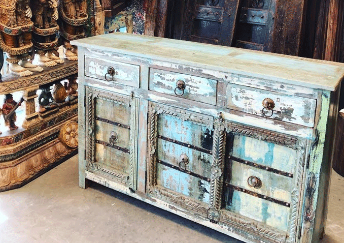 Sideboard Reclaimed Solid Wood Distressed  Three Drawer