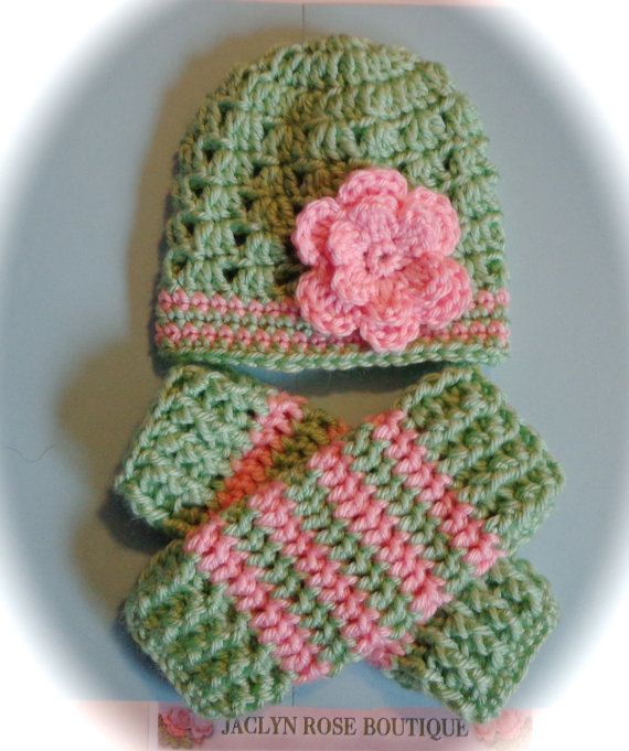 7e83990cd06a Crochet baby beanie hat with flower and leg warmers set newborn 0 3 ...