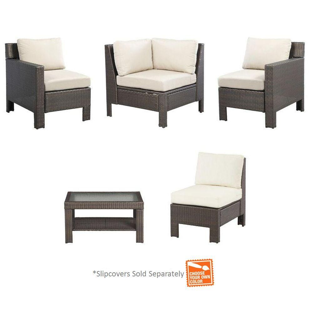 Hampton Bay Beverly 5 Piece Patio Sectional Seating Set With Cushions  Insert (Slipcovers Sold