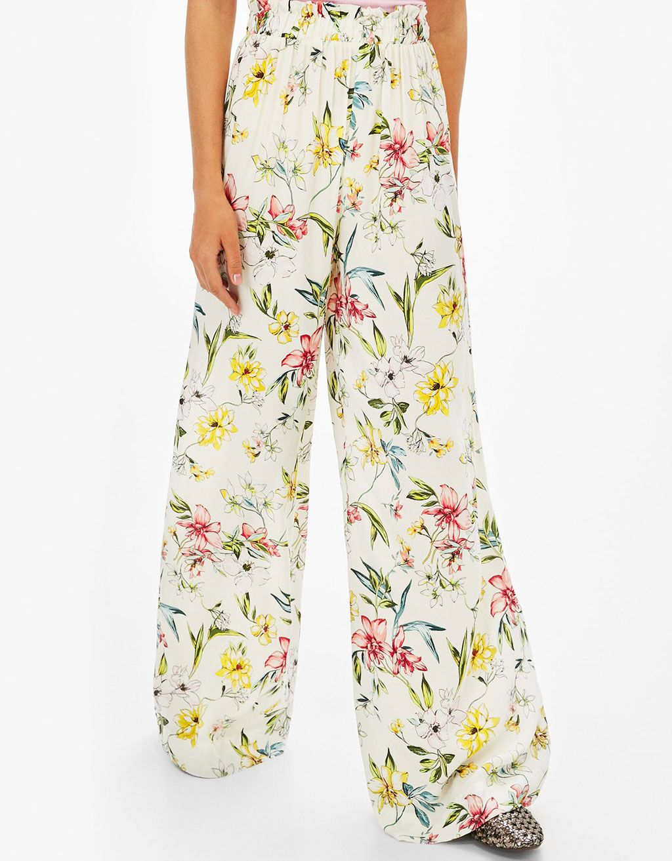 Szerokie Spodnie W Kwiaty Spodnie Bershka Poland Pajama Pants Fashion Pants