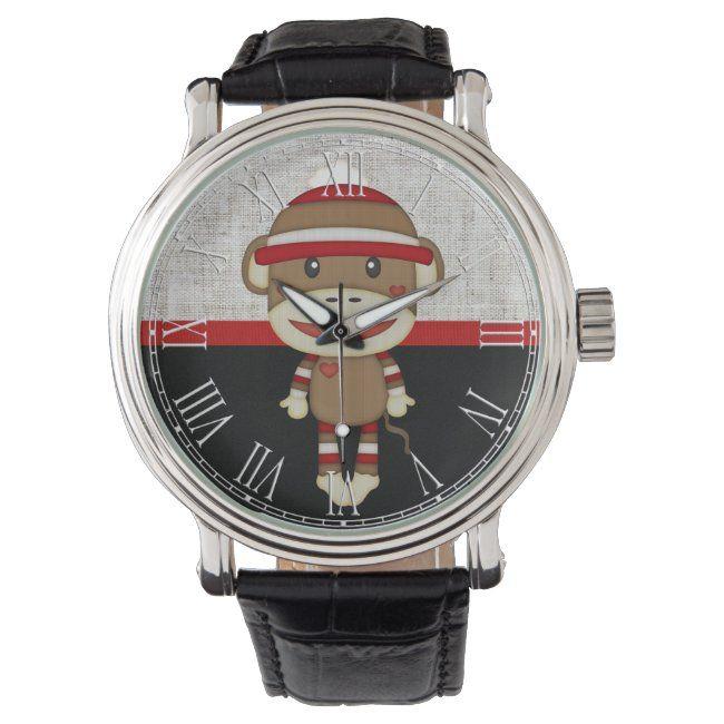Retro Sock Monkey Wristwatch | Zazzle.com