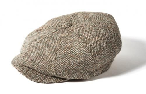 70d610505 Harris Tweed Oatmeal Eight Panel Bakers Boy Cap - Aero Leather ...