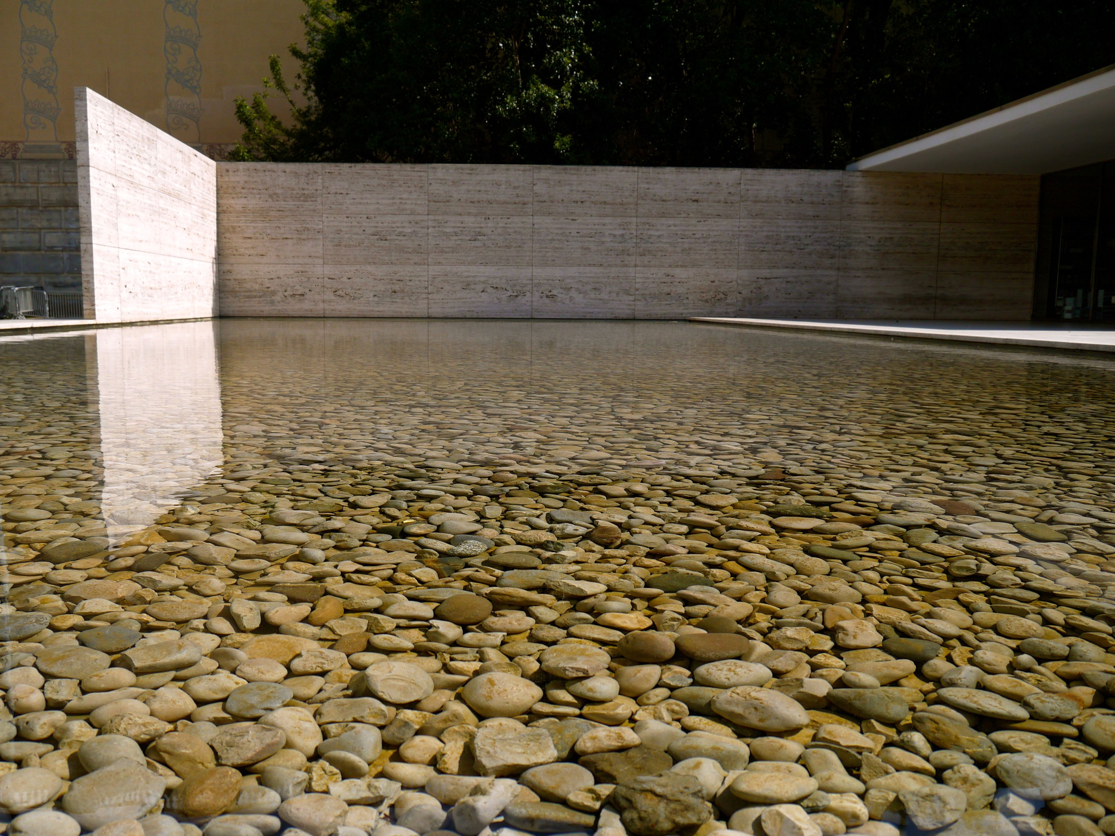 Mies Van Der Rohe, Barcelona Pavilion, Spain Architecture, Pebbles, Pool