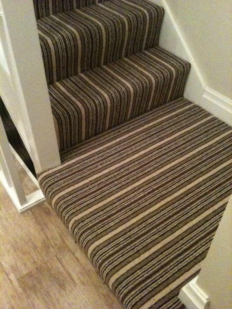 Striped Carpet On Mini Landing Staircase Striped Carpets Carpet Home Decor