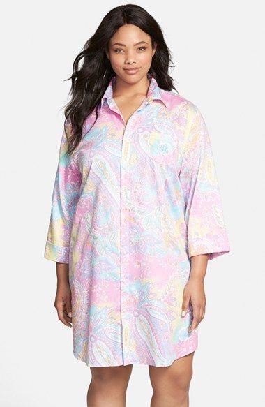f9cefc1620b Plus Size Women s Lauren Ralph Lauren Print Cotton Sateen Sleep Shirt