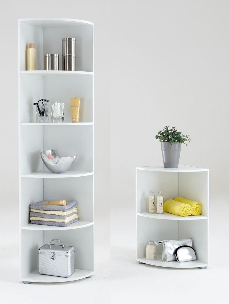 Big Eck & Wee Eck   Bathroom / Kitchen Corner Shelf. White, Floor Standing.