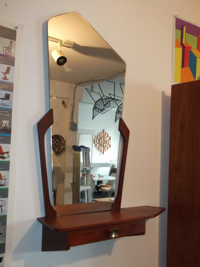 Very cool Mid-century modern wall mirror with shelf and ...