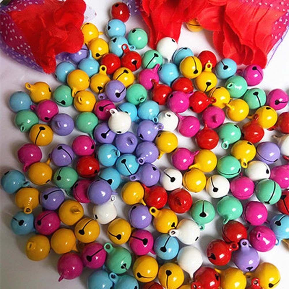 200 Pcs Mixed Color Aluminum Beads Christmas Jingle Bells Pendants Charms 6x8 mm