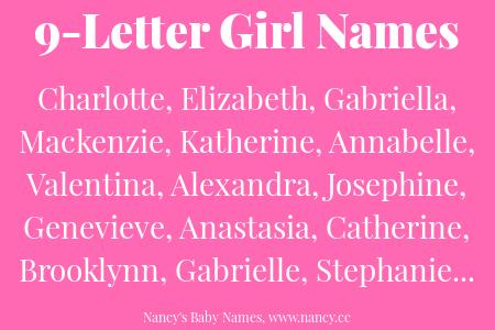9 Letter Girl Names | Lists of Names | Baby Girl Names, Girl names
