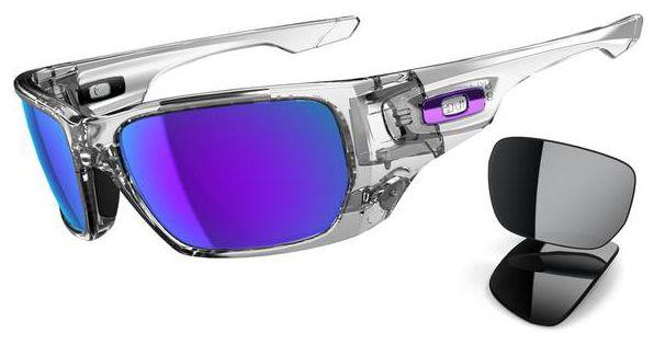 clear frame oakley sunglasses z8v7  Oakley Styleswitch Sunglasses with Polished Clear Frame and Violet Iridium  and Black Iridium Lenses