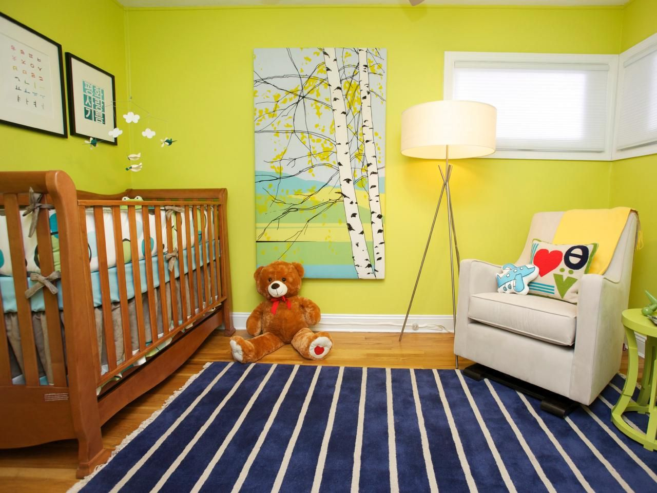 This Vibrant Nursery Features Lime Green Walls A Navy