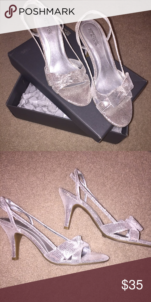 a7f8628ba039 Kenneth Cole Silver Heels 💕 Incredible condition! Comfortable and true to  size. Only worn