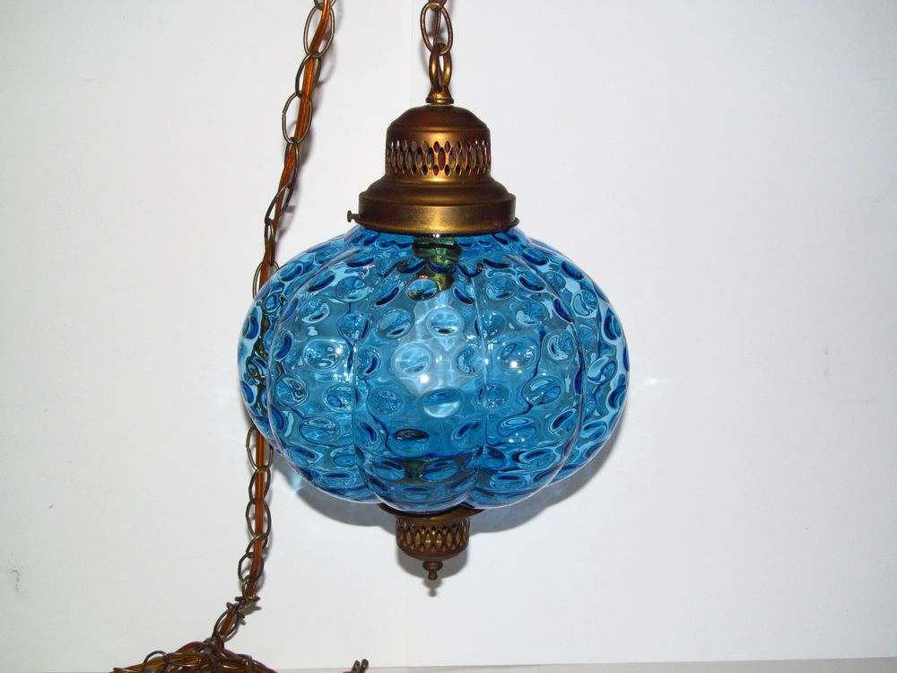 Vintage Blue Bubble Glass Globe Swag Lamp Hanging Light