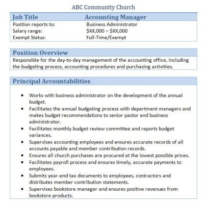 Sample Church Employee Job Descriptions – Accountant Job Description
