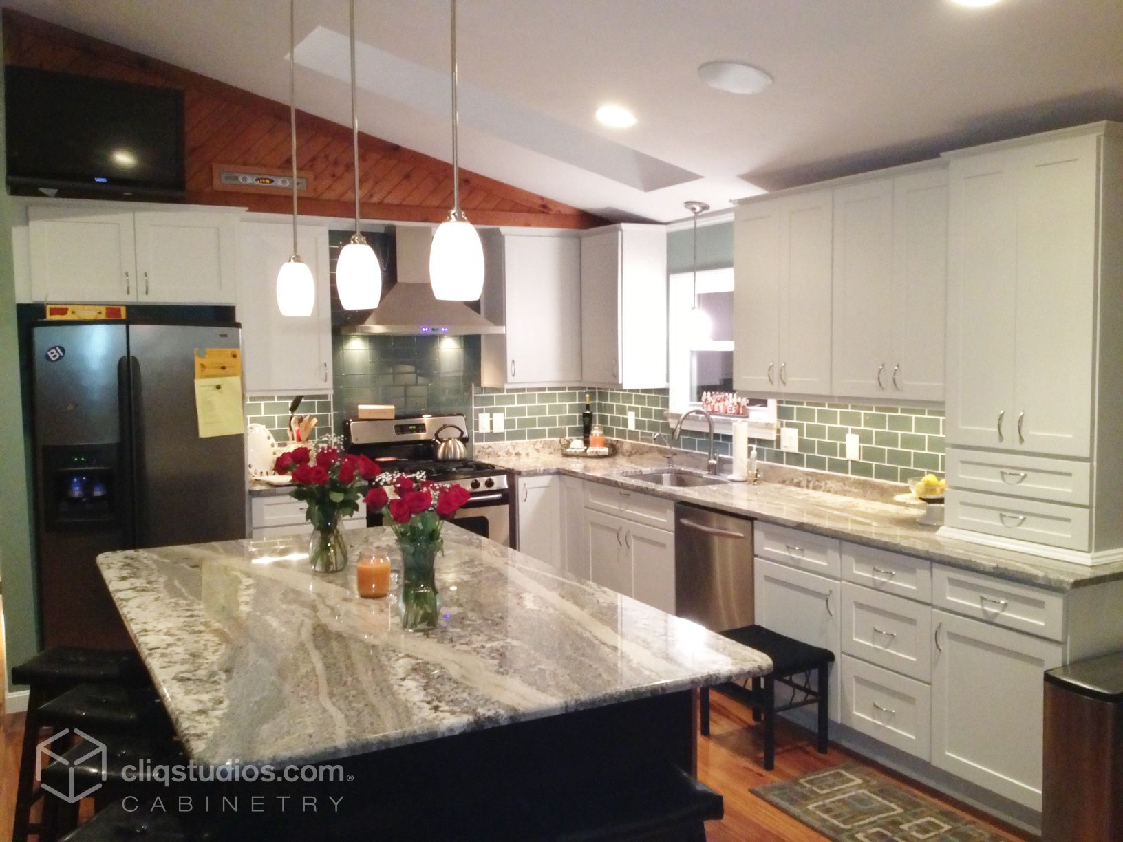 Modern kitchen update featuring dayton painted white for White mission style kitchen cabinets