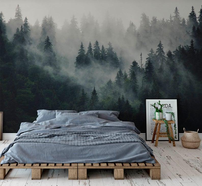Misty Fir Forest Landscape Wallpapermountain In Fog Wall Etsy Wallpaper Bedroom Forest Wallpaper Bedroom Forest Bedroom