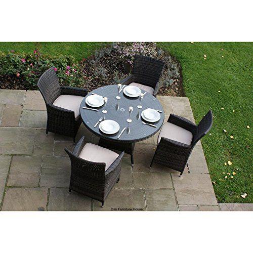 Milan Rattan Garden Furniture 4 Seater Round Table Set Rattan