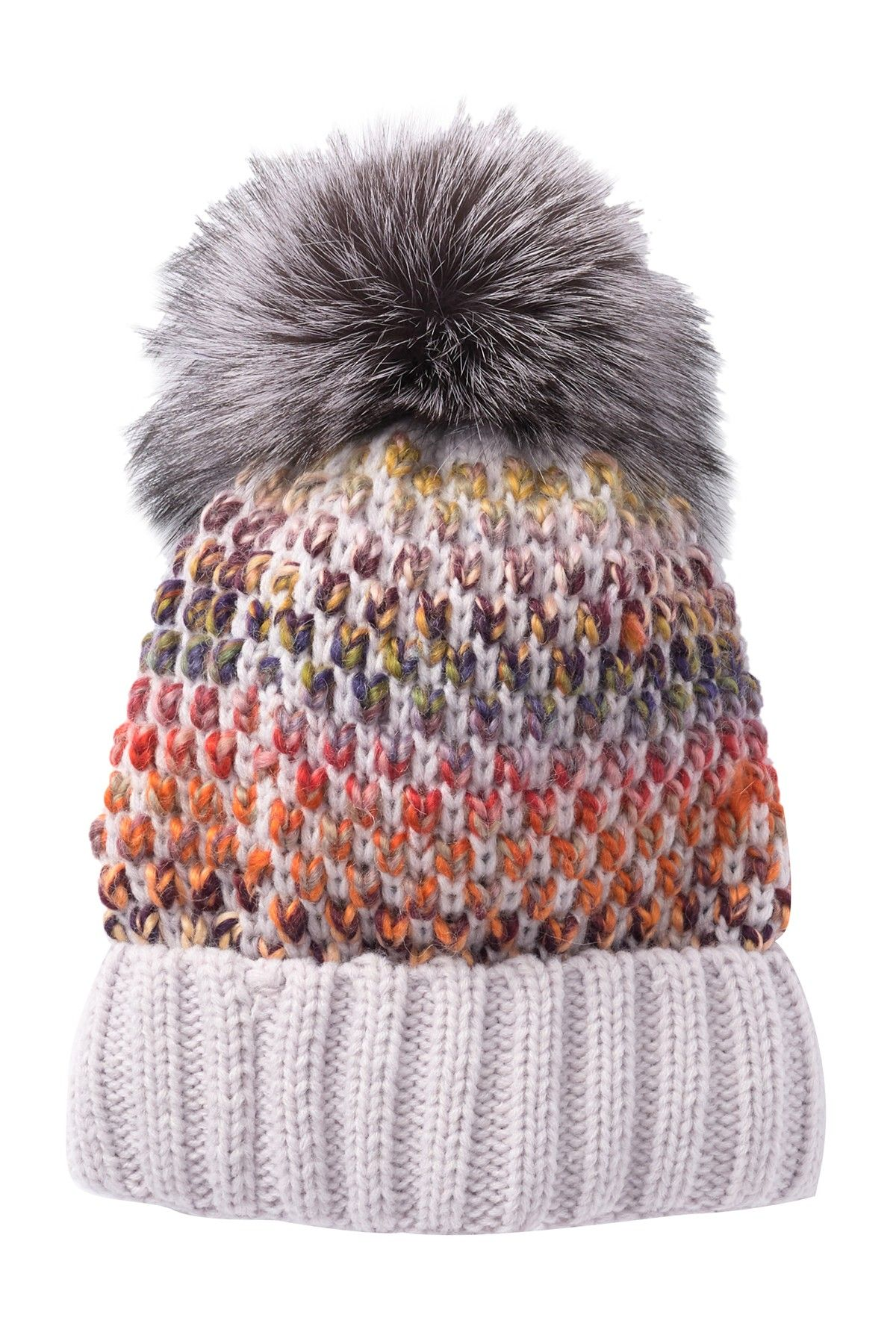 95d0c17671d Genuine Fox Fur Pompom Multi Knit Beanie by Kyi Kyi on  nordstrom rack